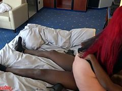 Interracial with german BBW in black dress