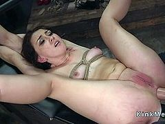Tied up brunette tormented and analed