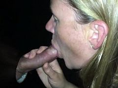 Wife sucking all the cocks in the gloryhole and swallows cum
