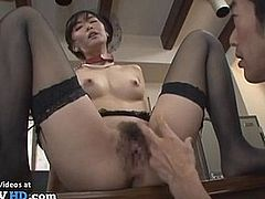 Japanese Milf in stockings rough sex roleplay