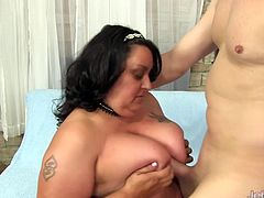 Brunette BBW plays with her guys dick He sucks her tits She gives nice tits fuck and blowjob Then fucks her pussy and asshole in many positions She gets facialled in the climax
