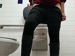 Gas Station Toilet Voyeur XIII (Hovering Dirty Blonde)