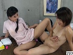 JAV lesbian massage clinic therapist strips bottomless to demonstrate vaginal pressure training featuring a naked oiled up wife playing tug of war using their pussies with English subtitles