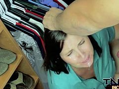 chubby brunette fucked in the closet