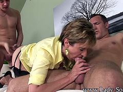 One guy is just not enough for Lady Sonia, who has the sexual appetite of an 18-year-old. This mature MILF loves having her holes stuffed. Watch her take on two amateur guys in this sultry threesome.