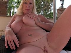 Busty melody opens up her legs and shows off her massive boobs, and old cunt. Watch her shove a huge dildo down her throat and masturbate. The sex toy gets rammed between her big boobs and thrusted into her vagina.