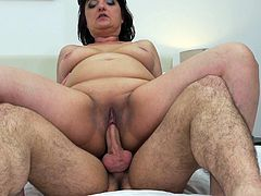 Chubby mature lady Melana loves to bounce up and down on cock and get railed. This fatty needs a big dick in her old pussyhole at all times. She is cumming so hard when she gets plowed. She likes her men hairy and hard.