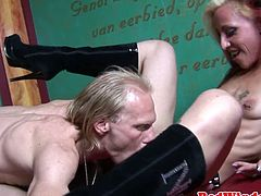 Pierced dutch hooker facialized after blowjob