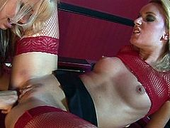Watch Jasmine and Alicia share a double ended dildo