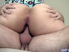 Sexy plumper gets her tits sucked and pussy licked Then gives a nice blowjob After that she gets her pussy reamed hard in many positions She takes cum in her mouth
