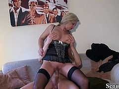 Young Guy Seduce German MILF Friend of Mother to Fuck