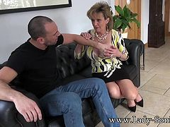 Lady Sonias husband is out running errands when his friend shows up and spikes Sonias drink with a little Spanish fly, and in no time at all Lady Sonia is sucking his cock and stuffing her twat with his rod.