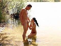 Stunning Andrea Tiffany Segal gets her cunt drilled outdoors