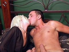 Skinny blonde is fucked hard by a big-dicked chap