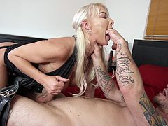 Beautiful blonde London River gets fucked by a tattooed friend