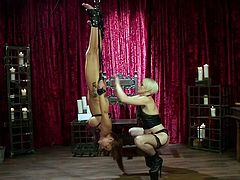This hot blonde milf dominates her busty lesbian lover, Syren De Mer, and if you want to enjoy some hot details, then don't wait any longer and join. Lesbian ass spanking, bondage, punishment & hardcore sex.