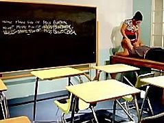 Slutty Big-tit Asian school teacher fucks student's dick in class
