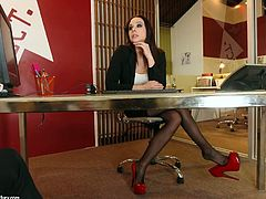 Slutty ladyboss Chanel Preston is checking out her new employee