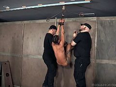 Two kinky dudes punish pussy of tied up and suspended upside down ebony bitch