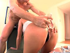 Melissa Lauren mouth get put to the test as she tries to deepthroat a fat buttplug and a big hard cock. Her butt hole was also put into the test. Getting fucked deep and passes with flying colors with cum all over her face.