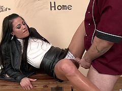 Dude pisses on sexy clothed chick Eveline Dellai and fucks her nasty holes