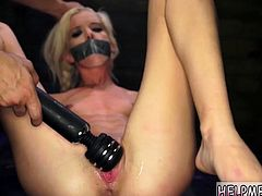 Fuck guy with strap on rough and extreme anal machine