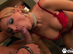 Natural tits blonde Diana Doll gets her pussy licked and banged by monster cock