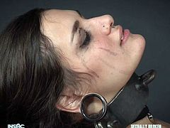 She is tied up and bound so the master can shove his huge cock down her throat. He fucks her face so hard and she must obey because she is a sexy slave. She must stay in bondage until the master releases her.