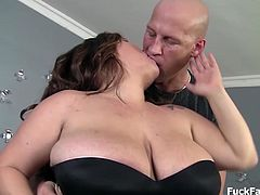 Massive bbw brunette babe is excited to get showered with oil. She deep sucks a par up cock and fucks her plumpy juicy fat pussy while in her sexy black stockings. Catching all the cum with her pierced tongue.