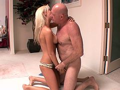 Blonde Kaylee Hilton plays with his dick until he cums