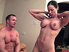 Female Bodybuilder Porn Star Kendra Lust and Two Studs