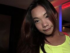 Teen Thai tranny Mina pulls down her fitnes shorts and jumps on the bed and her cock bounces. Playful Mina gives guy a POV blowjob and spreads her legs for getting ass fucked bareback.