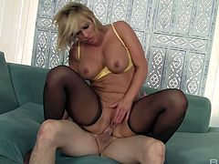 Lewd blond milf Mellanie Monroe seduces boyfriend's best friend
