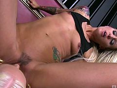 Sassy tattooed hoe fucks shy lesbian blonde Angel Long and makes her lick pussy