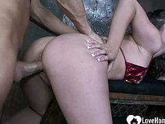 Naughty bombshell will moan while he fucks her as hard as he can.