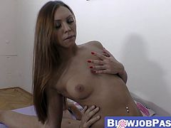 Amazing young babe sucks cock before passionate drilling