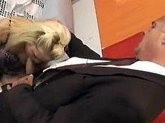 Blonde fucking with an old man
