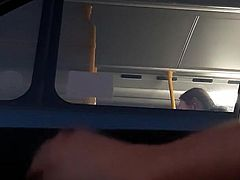 Cute Asian girl on bus sees my cock