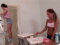 Two captivating hotties Lauryn May and Vicky enjoy eating each others pussies