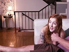 Red haired girlfriend Meagan Winters gives a yum-yum blowjob to her boyfriend