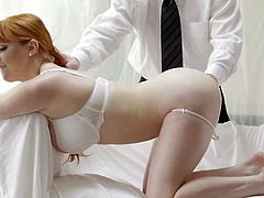 Red haired GF Penny Pax is fucked by her boyfriend and his friend