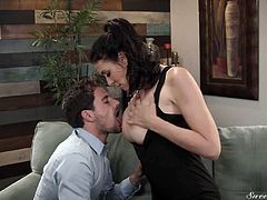 Sinful chick Reagan Foxx seduces friend of her husband and bangs him hard