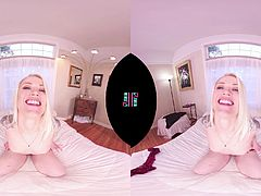 Stunning blonde pornstar Ash Hollywood joins us on VRHush for a naughty masturbation video. Ash slowly strips down and stuffs her shaved pussy with toys until she orgasms!