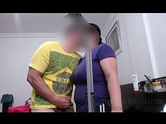 tocaculos cums on maid gropes her tits and nipples got hard