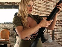 Gorgeous MILF Kelly Madison loves using her buzzing toy