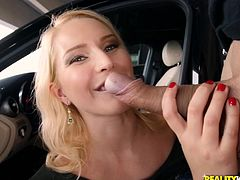 Ramon picked up this hot milf at the airport and she couldn't wait to get nasty with him. When they go to his car, she immediately wanted to suck on his big cock. She deepthroats him and works every inch of his cock with her mouth.