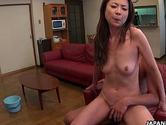 Handsome cleaning lady Nanako Misaki is in need of cash and this guy offers extra tips is shes willing to suck and ride his dick which she didn't seem to mind at all.