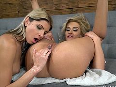 Doris Ivy and Cherry Kiss are stretching each others nasty pussies
