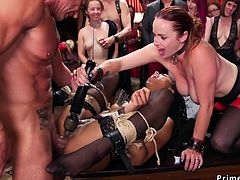 Anal interracial threesome at party