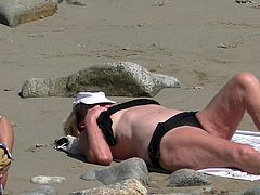 hairy blond granny sunbathing